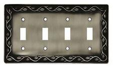 64182 Brushed Satin Pewter Leaf & Vine Quad Switch Cover Plate