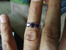 Genuine African Amethyst  ring 3 stone 1.70 CTW set in sterling silver .925