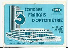Autocollant sticker 1980 Congrès français d'optométrie Palais des congrès