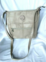 """RELIC By Fossil Cream Faux  Leather Crossbody Messenger Bag Purse 10""""x11"""""""