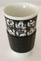 Disney ZRIKE Mickey Goofy Character Grid Coffee Travel Mug Cup Glass Black White