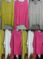 LADIES NEW ITALIAN LAGENLOOK BATWING PLAINLINEN TUNIC TOP PLUS SIZE 14-24 COMFY