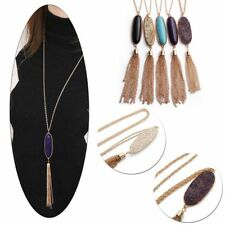 New Women's Fashion Big 2'' Oval Abalone Druzy Stone Tassel Pendent Necklace