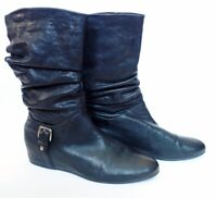 STUART WEITZMAN Rugerio black leather ruched slouchy ankle hidden wedge boots 8