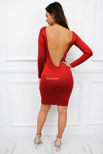 Womens Ladies Low Back Backless Long Sleeve Midi Celeb Bodycon Dress S Red