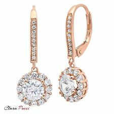3.55 ct ROUND CUT Solitaire Halo DROP DANGLE LEVERBACK EARRINGS 14K Rose GOLD