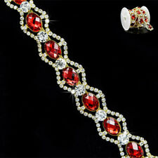 Red Sparkling Clear Rhinestone Crystal Trims Costume Gold Trimming Trim 1 Yard
