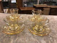 Vintage Antique Yellow Depression Glass Tea Demitasse Cup & Saucer Set Of Four