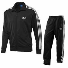 Men's Adidas Originals Adi Firebird Full Zip Full Tracksuit Set Black Polyester