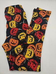 LulaRoe Leggings Halloween KIDS Pumpkin Heads Orange Yellow Red Black L/XL