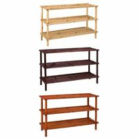 3 Tier Shoe Rack Stand Natural Walnut Oak Storage Unit Shelf By Home Discount