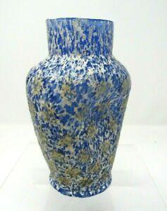 Vintage Dugan Cobalt Blue Glass Tall Pinched Vase Vertical Frit