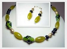 Handcrafted Green Art Glass Designer Necklace & Earring Set with 925 Clasps