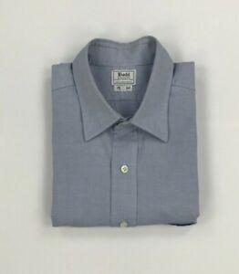 """Men's Blue & White Budd Shirt 17.5"""" Pinpoint Spread Collar Button Cuffs UK A/B"""