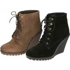 Wedge Patternless 100% Leather Boots for Women