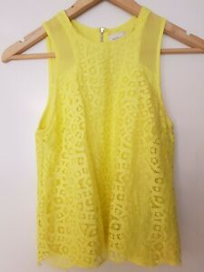 WITCHERY GIRLS Yellow Sleeveless cotton blend Summer lace TOP. Size 4