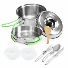 Camping Cookware Stainless Steel Outdoor Cooking Pot Hiking Picnic Tableware