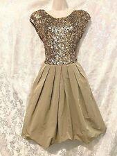 "Beautiful  ""CARLA ZAMPATTI""  Gold Sequin Silk Trim Cocktail Dress Sz 10"