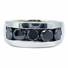 5.00 Carat Black Diamond Men's Ring 14k White Gold