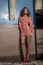 NWT Small LULI FAMA Gorgeous Comparsita Pink Floral Ruffle Mini Dress Cover Up
