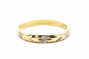 Sunburst Carved Classic Wedding Band 14K 585 Yellow & White gold Ring Size 9