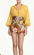 Zimmermann Bonita Lace Up Short | Chocolate Floral, Linen,High Waisted $500 RRP
