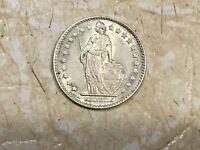 1961 Switzerland 1 Franc Brilliant Uncirculated Helvetia Silver Coin