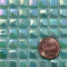 8mm Mosaic Glass Tiles - 2 Ounces About 87 Tiles Iridescent Teal #3