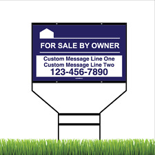 For Sale By Owner Yard Sign with Steel Black Wishbone Frame - 18 x 30in (Blue)
