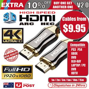 Premium HDMI Cable V2.0 4K Ultra HD 3D High Speed Ethernet 1m 2m 3m 5m 10m 15m