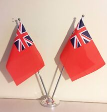"""RED ENSIGN DELUXE SATIN TABLE FLAG TWIN SET 9""""X6"""" CHROME POLE & BASE"""