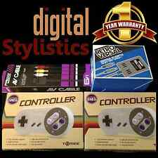 AC Adapter Power Supply & AV Cable Cord & 2 Controllers NIB Super Nintendo SNES