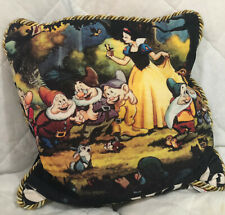 Walt Disney Snow White & 7 Dwarfs Pillow Black Polyester w/ Gold/Black Cord Trim
