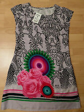 WOMEN DRESS DESIGUAL GREY MULTI COLOR PRINT LINED LOGO NEW SIZE M