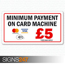 Minimum Payment £5 Sticker Mastercard Visa Contactless Printed Vinyl 130x70mm
