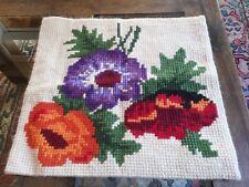 TAPIS TAPISSERIE BRODERIE AU POINT DE CROIX EN LAINE VINTAGE Tapestry needlpoint