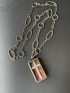 Jewel  Kade shadow box crystal cross chunky pendant necklace