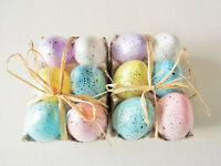 12 Speckled Eggs Farmhouse Rustic Primitive Easter Spring Distressed  New