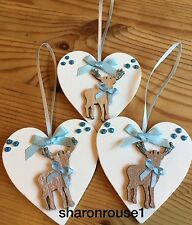 3 X Christmas Decorations Reindeer Shabby Chic Rustic Real Wood Heart Blue Bows