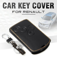 Car Black Leather Smart Key Cover Case Keychain For Renault Koleos Laguna Megane