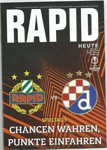 EUROPA LEAGUE MATCH PROGRAMM Rapid Wien - Dinamo Zagreb 21.10.2021