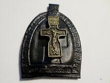 Leather Amulet Ladanka With A Brass Cross  Ладанка С Металическим Крестом Кожа