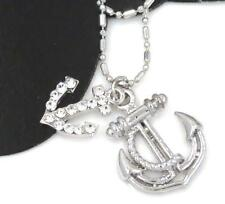New Anchor Austrian Crystal Charm Silver Tone Chain Anklets