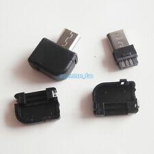 10Pcs Micro USB 5 Pin Right Angle Male Plug Socket Connector& Plastic Cover B