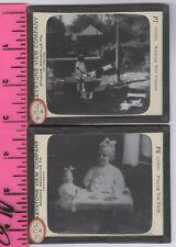 2 OLD KEYSTONE MAGIC LANTERN GLASS SLIDES, ANTIQUE DOLLS, SM GIRLS & NOW ON SALE