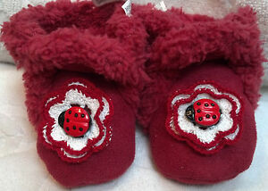 GYMBOREE SHOES SLIPPERS BOOTS 6 9 12 MONTHS GIRLS BABY INFANT RED FUR LADYBUG