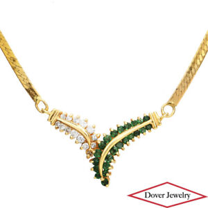 Italian Diamond 0.75ct Emerald 14K Gold Leaf Pendant Chain Necklace 7.3.Gr NR