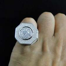 1.8 Ct Round Sim Diamond Men's Large Hip Hop Pinky Ring in 14k White Gold Plated