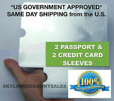 2 RFID Passport ID Sleeve Protector Blocking Safety Aluminum Shield Anti Theft