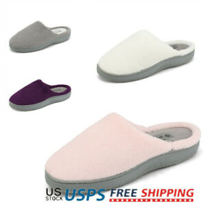 Women's Memory Foam Slippers Slip On Indoor Outdoor House Comfortable Shoes